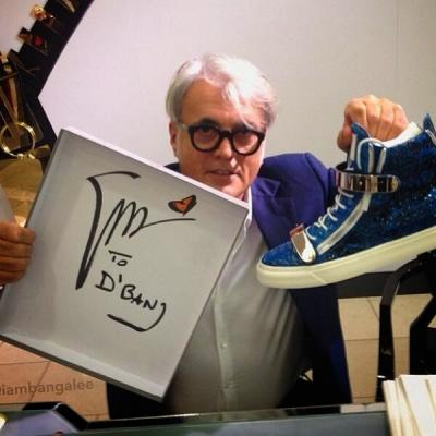 Giusseppe Zanotti (Italian Shoe Designer) Sent D'Banj Pair of Customized Sneakers