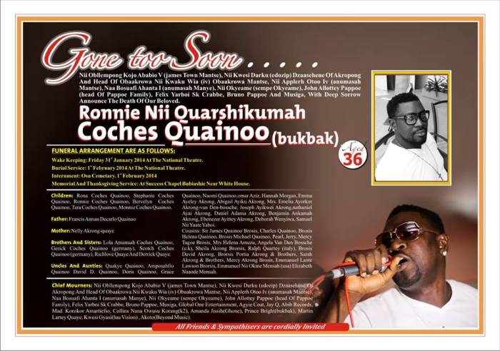 Funeral Arrangement Of The Late Ronnie Coches Quainoo