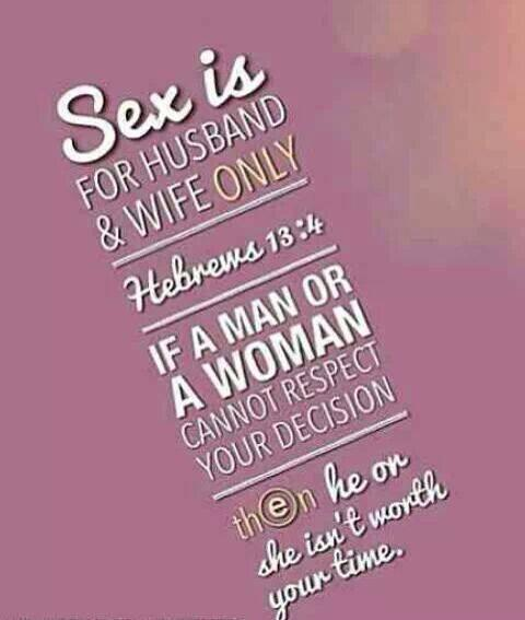 Sex Is Mean To Be Enjoyed During Marriage